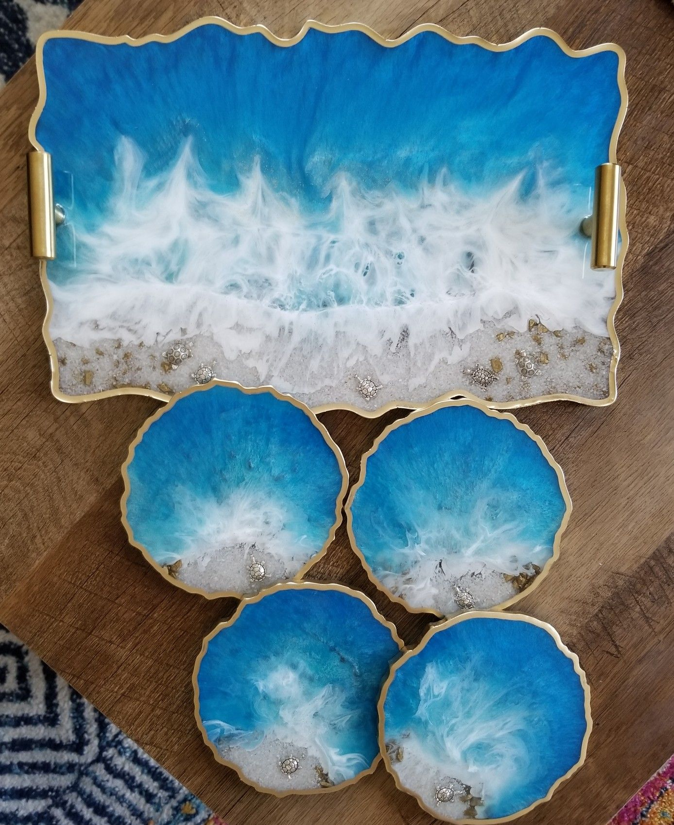 Ocean inspired resin tray with turtles