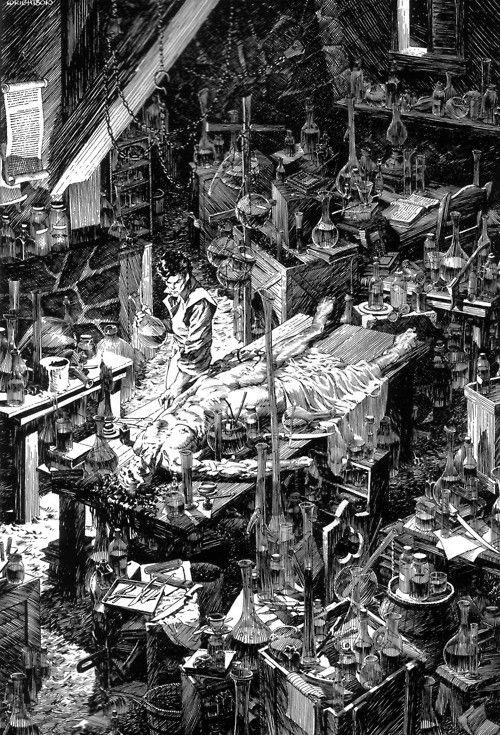 Bernie Wrightson Illustration Of Mary Shelleys Frankenstein
