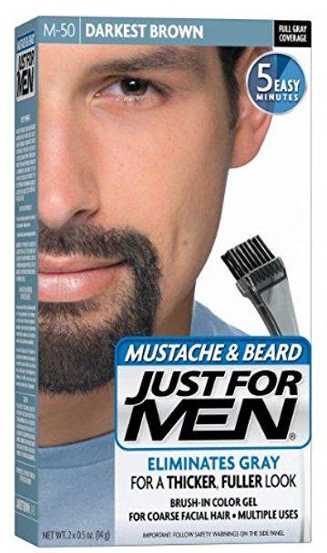 JUST FOR MEN Color Gel Mustache & Beard, M-50 Darkest Brown 1 ea ...