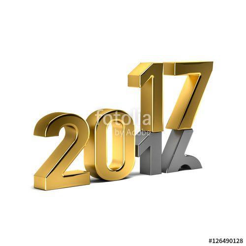 New Year Golden 2017 Over Weared 16 Number. 3D Render Illustrati