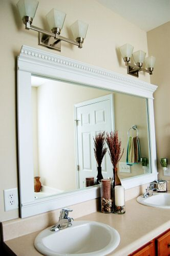 Tutorial   Frame Your Blah Bathroom Mirror With Crown Molding. I Am So  Doing This To My Bathroom Mirror.