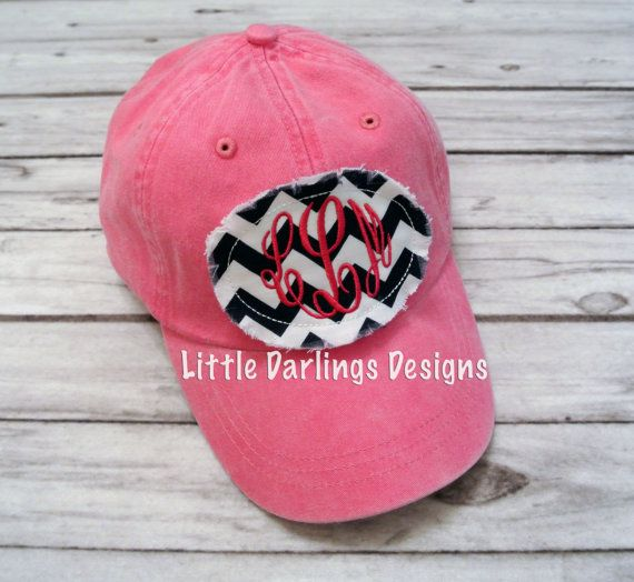 preppy raggy patch monogrammed baseball hat by