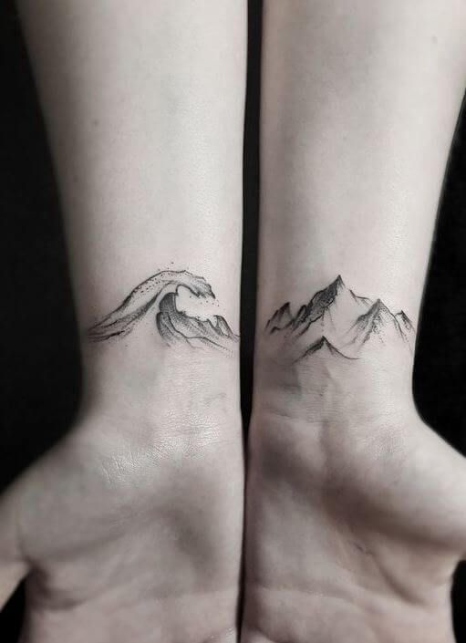Wave and Mountains Tattoo on Wrist