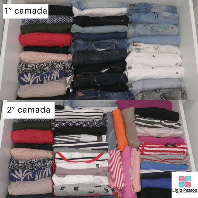 DEPOIS- Essa gaveta com #blusas #shorts e #calças é bastante profunda por isso a dividi em duas camadas de roupas na 1 eu coloquei os shorts e as calças na 2 eu coloquei somente as blusas utilizei organizadores para colocar as blusas dentro a fim de que pudesse acessar a 1 camada sem desorganizar a 2. #ligiapessoaorganizer #personalorganizerrecife #organizacao #qualidadedevida #funcionalidade #praticidade