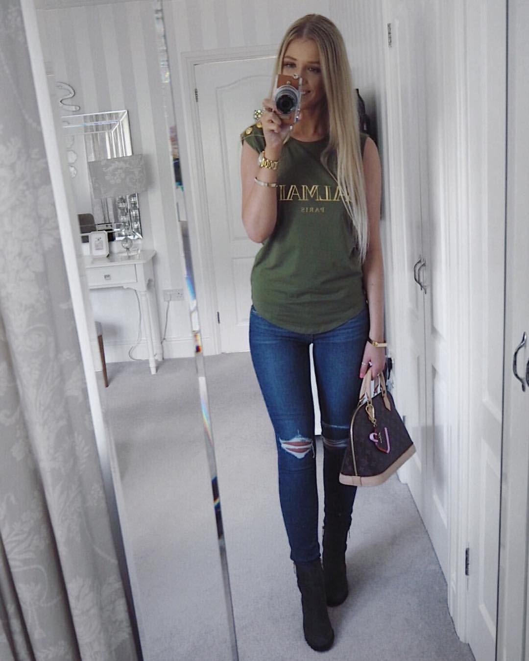 5963e320f Instagram @emilyjanehardy Green Balmain t shirt, paige denim jeans, dune  London boots, Louis Vuitton Alma bag