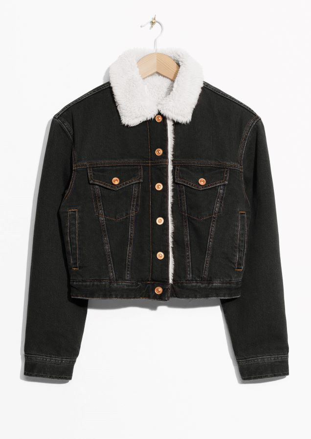 787f07c86e46   Other Stories image 2 of Faux Fur Collar Denim Jacket in Black ...