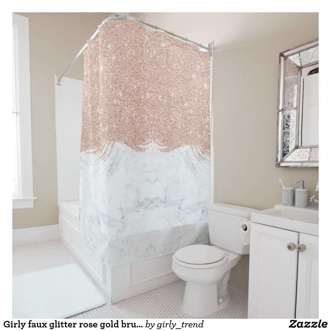 Girly Faux Glitter Rose Gold Brushstrokes Marble Shower Curtain