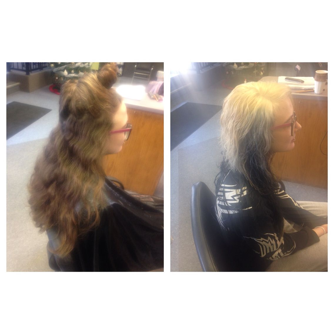 Transformation I did! From natural to bleach blonde/black underneath and some blue peak a boo's! #hairstylist
