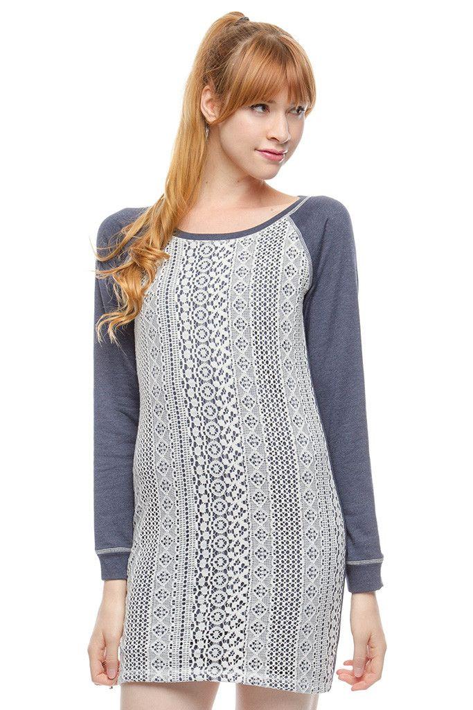 91a1bbfa8e41 lng slv terry knit dress in navy