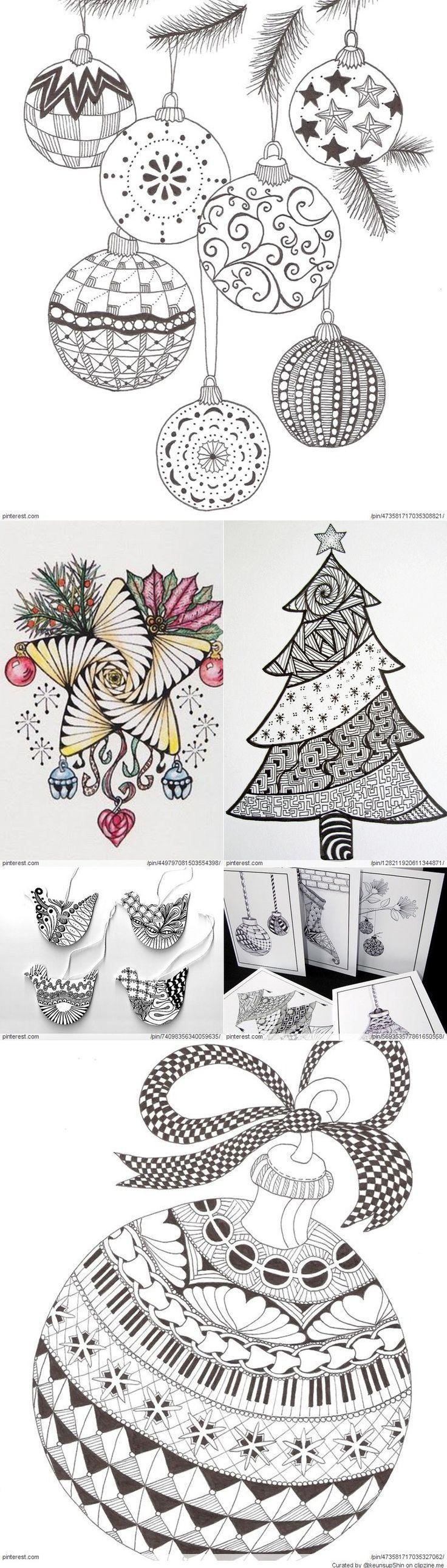 Christmas Zentangle Patterns: en 2020   Coloriage noel ...