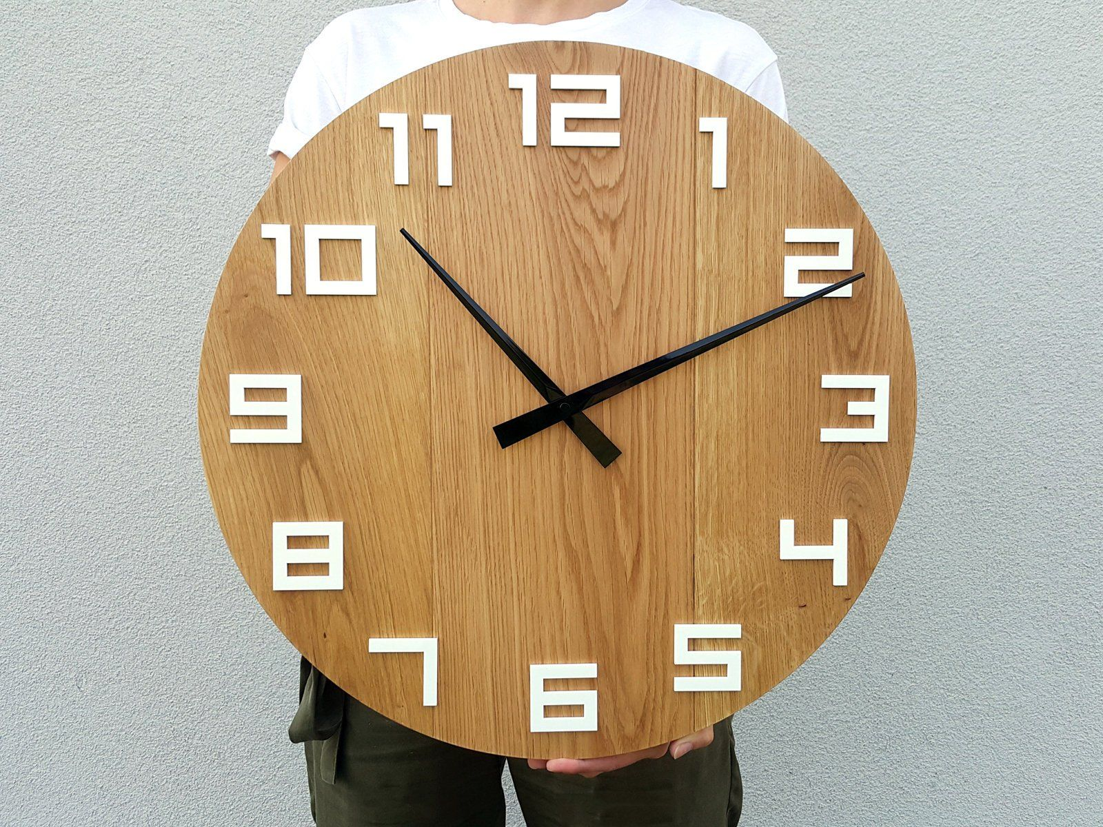 Large Wall Clock Rustic Oak Wall Clock Natural Digit Wood Etsy Rustic Wall Clocks Large Wall Clock Large Wooden Wall Clock