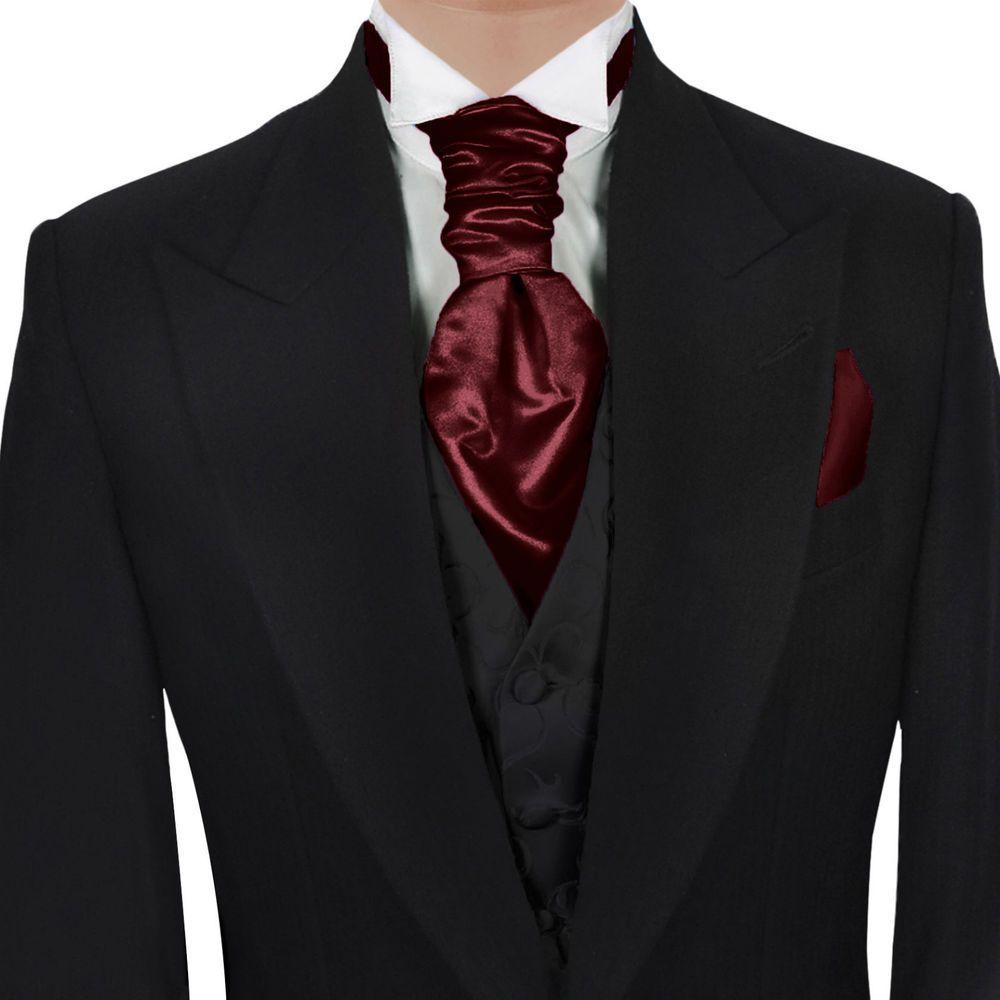 7a2328fb631f GASSANI Maroon Red Satin Ascot Tie & Pocket Hanky Set Formal Wedding Cravat…