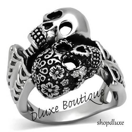 Gothic Jewelry Rings Men's Stainless steel Skull Skeleton Flower 2 two Biker Punk Goth Gothic Ring