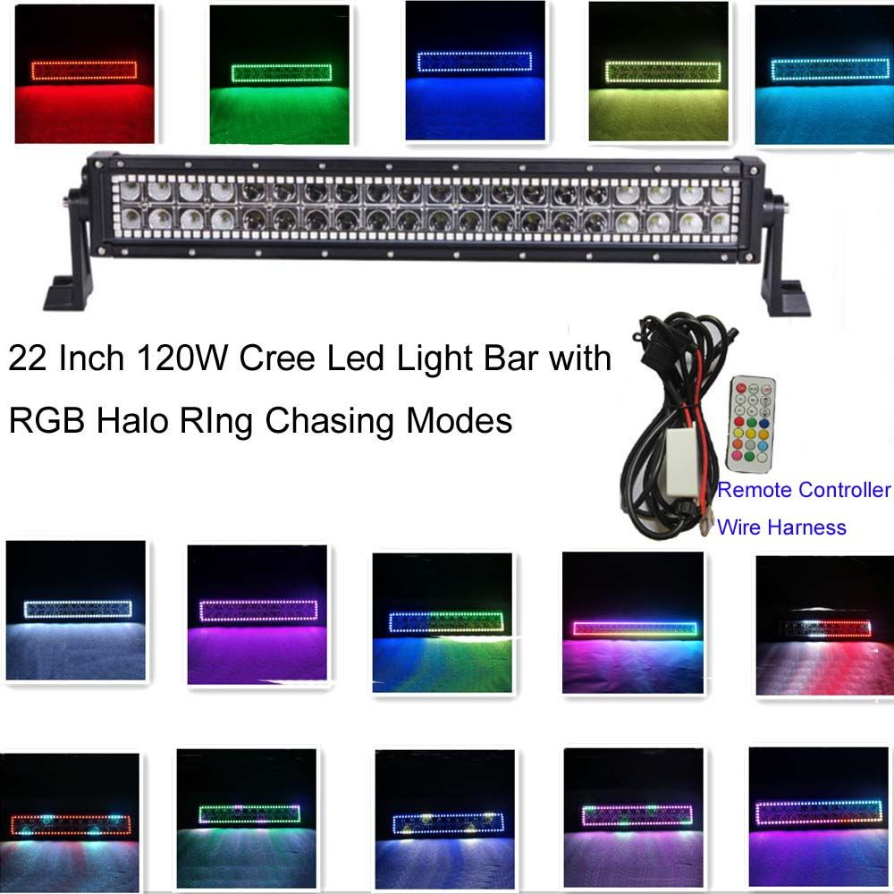 hight resolution of iov light 22inch straight 120w cree led light bar 12v rgb chasing halo ring many colors changing and over 36 flashing modes strobe led light bar combo beam