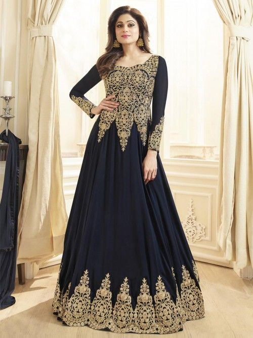 2a63ec14e Buy mystical navy blue georgette embroidered gown suit online at best price.  Buy this stunning salwar suit online at the best price in India & get cod  and ...