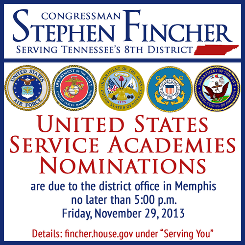 Just a friendly reminder that United States Service Academy nominations are due THIS FRIDAY. The service academies offer young men and women an opportunity to earn a degree from some of the most prestigious colleges in America, while equipping them with the training and skills to become the next generation of great American leaders.