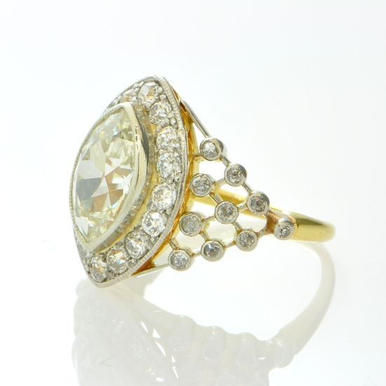 3.00 Carat Edwardian Marquise Diamond Ring - Rings | Perry's Fine Antique & Estate Jewelry--side view