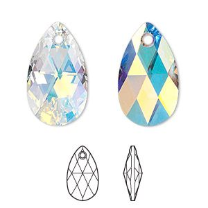 dcd93e25a Drop, Swarovski crystal, Crystal Passions®, crystal AB, 22x13mm faceted  pear pendant (6106) is a great addition to any beading or jewelry making  project ...