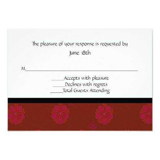 Asian Floral RSVP Card Invitations