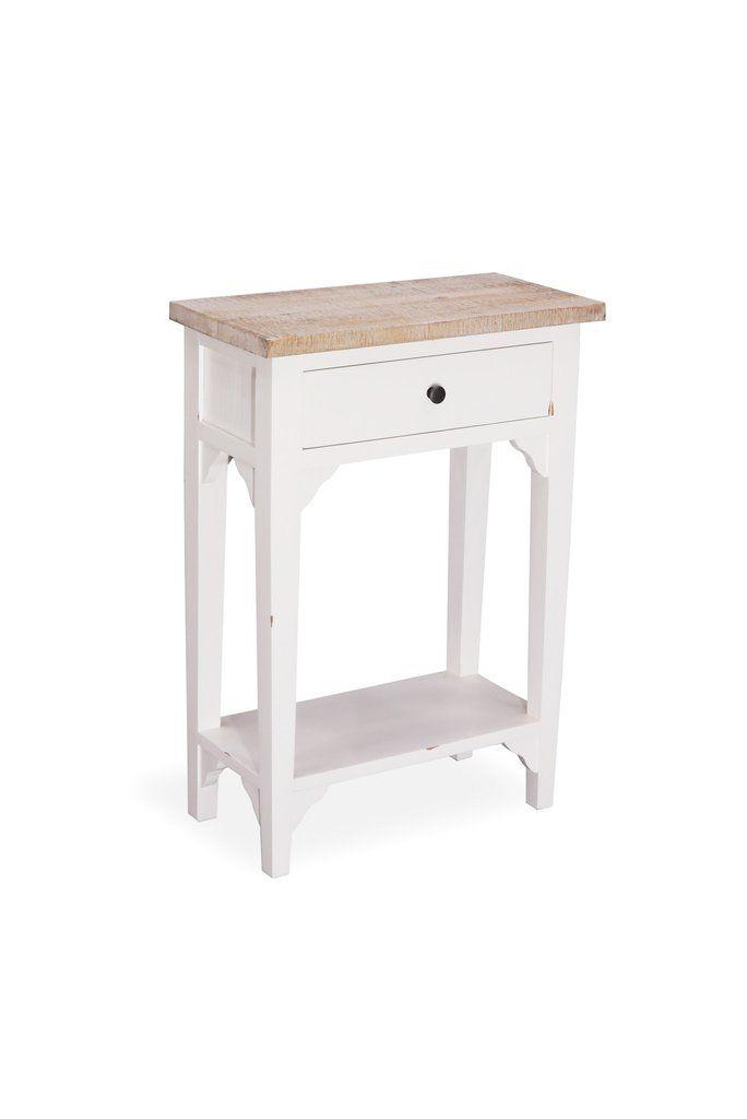 Saint Etienne Side Table 1 Drawer 1 Shelf Antique White