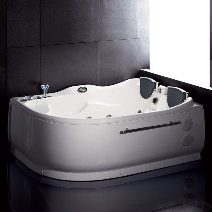 ALFI Brand AM124 6-ft Double Corner Acrylic White Whirlpool Bathtub ...
