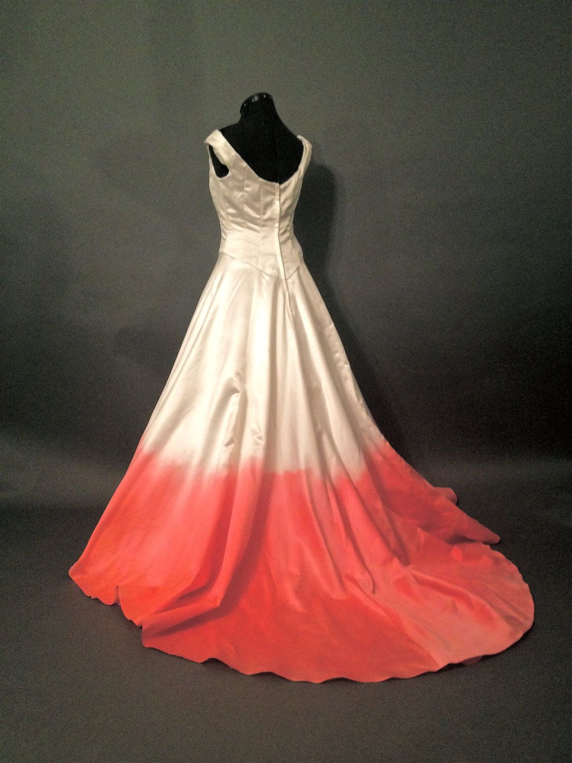 Ombre Dyed Pink And Ivory Gwen Stefani Style Wedding Dress 29900 Via Etsy