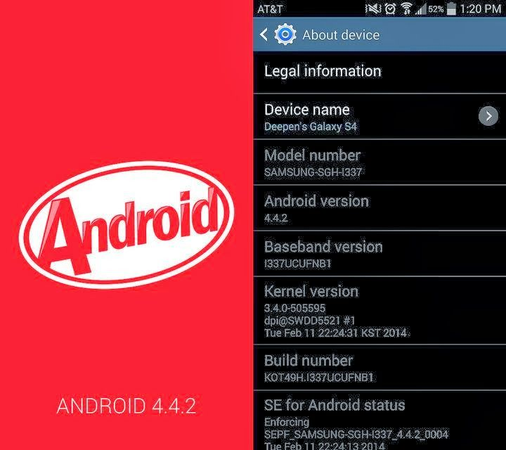 android kitkat update at&t galaxy s4 (With images