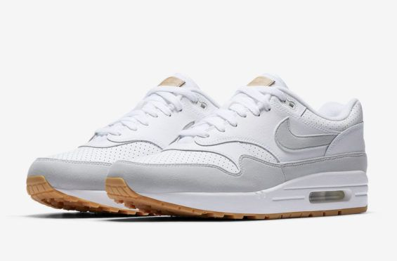 pretty nice 1b429 efade A Perforated Leather Upper And Gum Soles Combine On This Nike Air Max 1