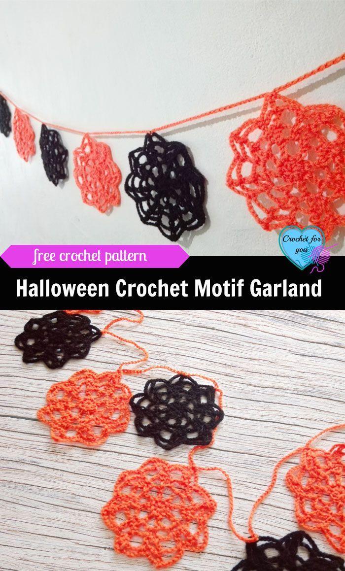 Halloween Crochet Motif Garland Pattern | Halloween crochet, Crochet ...