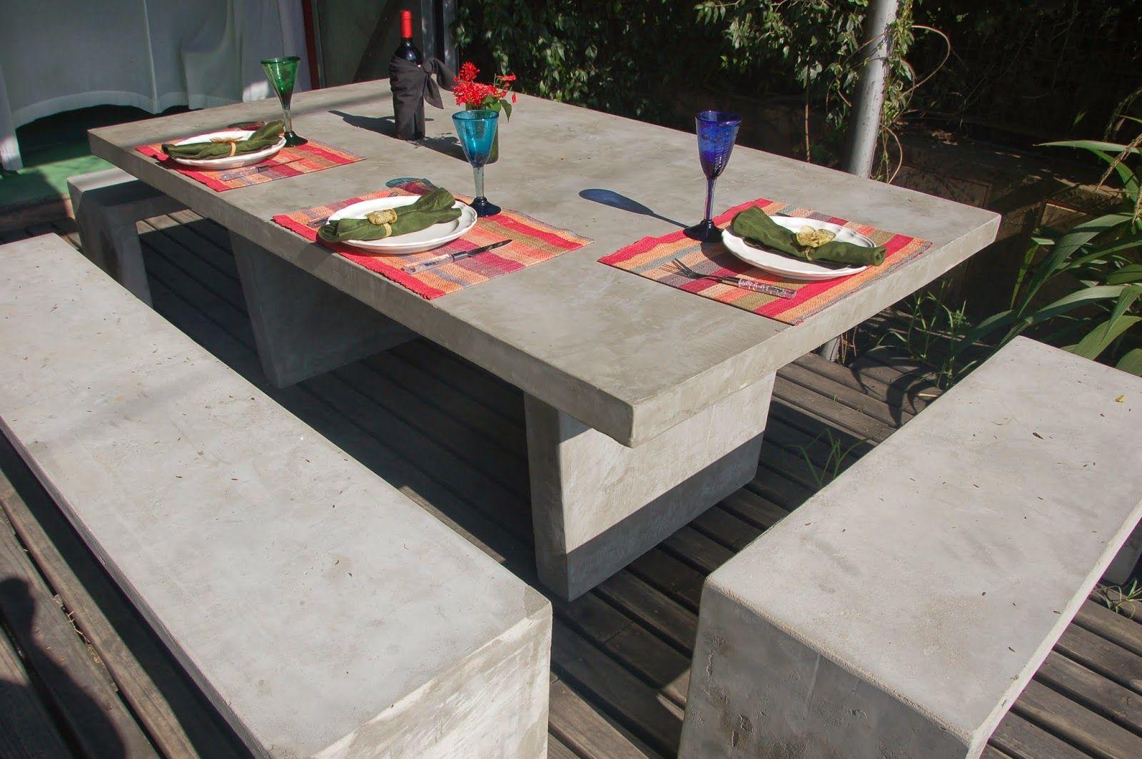 Muebles en cemento light estilo ribera patio devspark for Mesas para patio