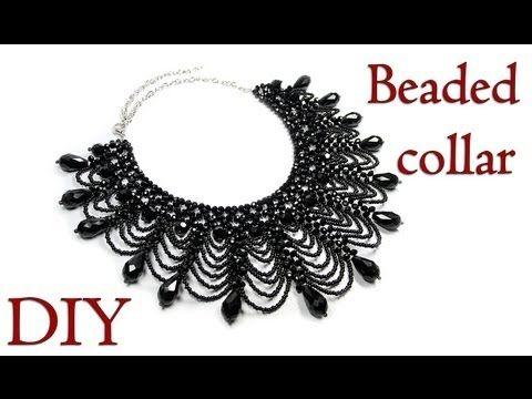 DIY: Beaded collar / Ажурный воротник из бисера - YouTube #beads