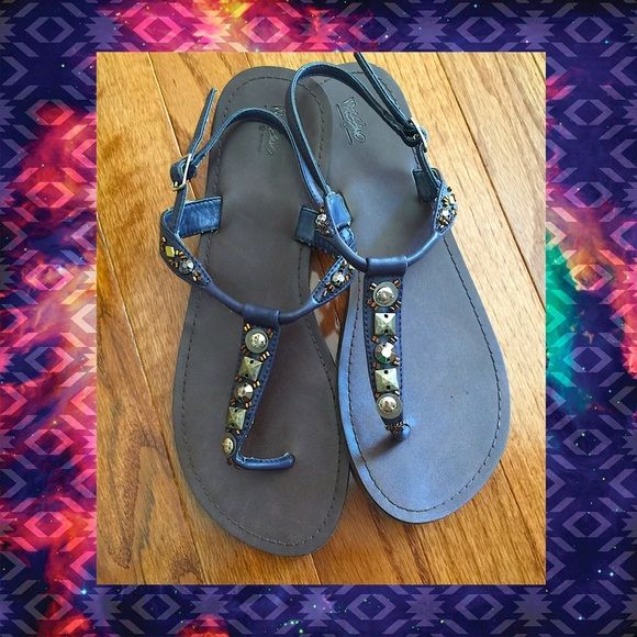 Studs & Beads- Embelished Navy Sandals. Size 8. Stud & beads -embellished Navy Sandals. Size 8. Gently worn & in Great condition- basically just minor normal wear on the bottoms. Mossimo Supply Co Shoes Sandals