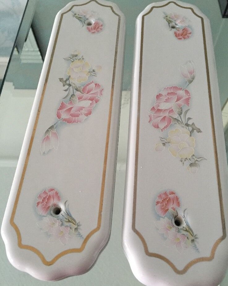 Pair china door Finger plates B.E.L. Products floral chintz shabby chic vintageu2026 & Pair china door Finger plates B.E.L. Products floral chintz shabby ...