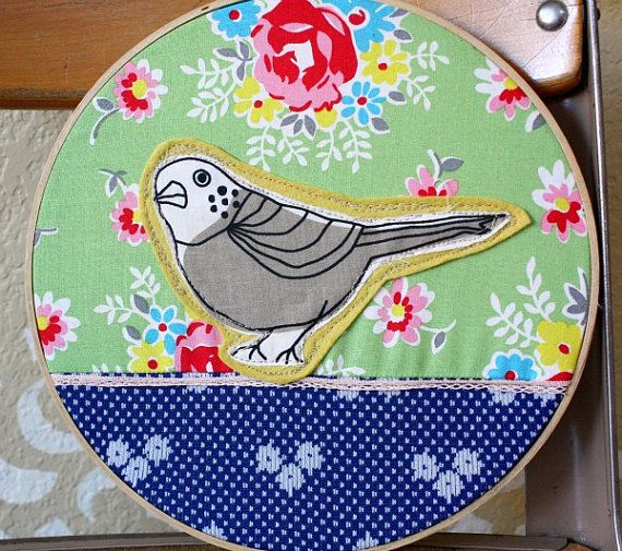 Embroidery Hoop Art  Bird on a Ribbon Wire by sisterhipster, $20.00