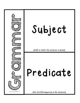 Grammar- Subjects & Predicates Activity for Interactive