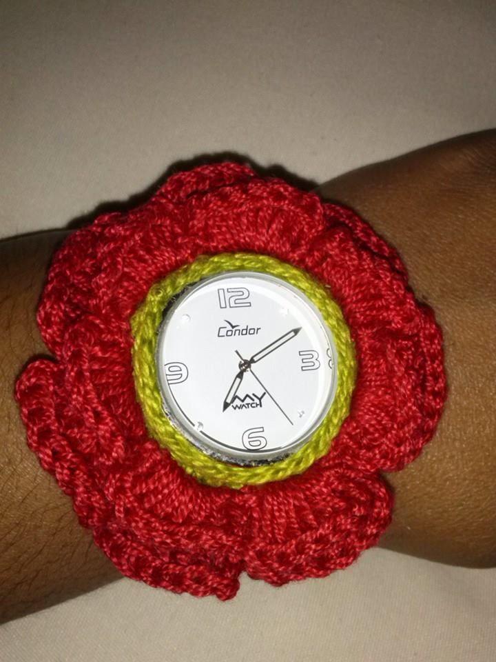 relógio (flor de croche)