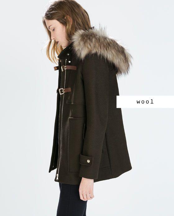 404e39b0a32 WOOL DUFFLE COAT WITH FUR HOOD Coat With Fur Hood