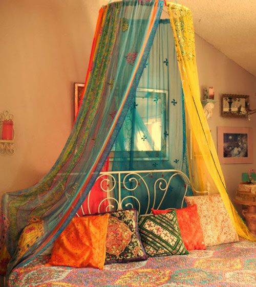 Dressing Your Home with Sarees | kwikdeko love this idea of using saris!