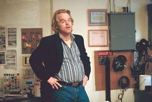 Philip Seymour Hoffman in Punch-Drunk Love. Amazingly crazy movie.