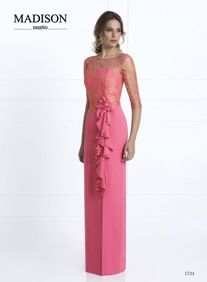 Vestido largo de fiesta de #Madison confeccionado en crepé coral y ...