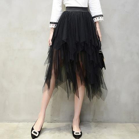 e304153ec9c5f 2019 Korean Fashion Long Skirts Womens Elastic High Waist Asymmetric ...