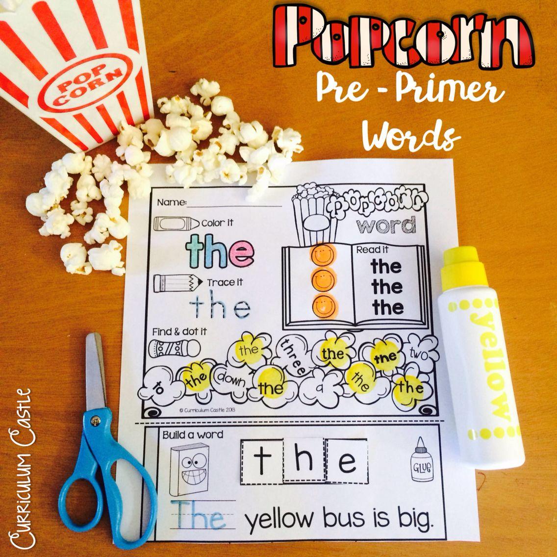 Kindergarten PrePrimer Sight Words Popcorn Word