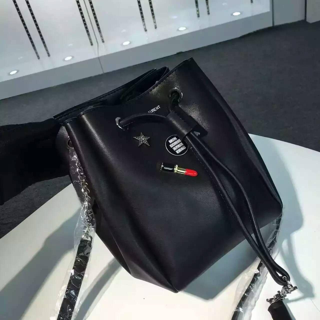 7b7b7738c210 Limited Edition!2016 New Saint Laurent Bag Cheap Sale-Saint Laurent Medium Emmanuelle  Bucket Bag in Black Leather with Lipstick Decoration