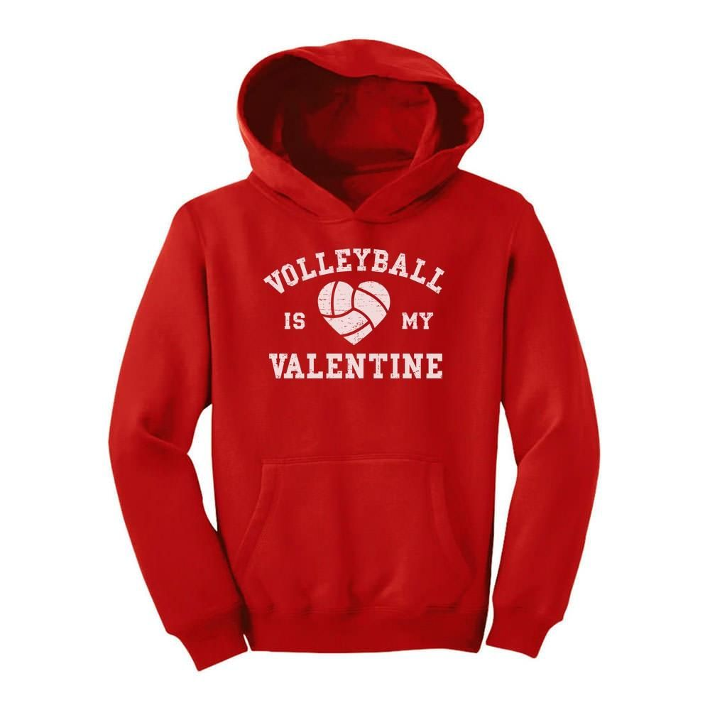 Volleyball Is My Valentine Youth Hoodie Hoodies Toddler Gifts