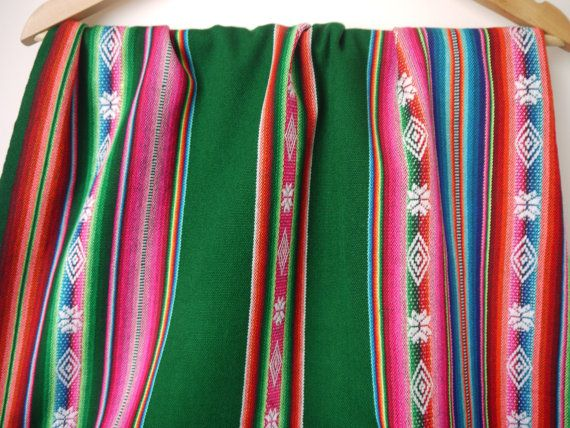 Tribal Fabric South American Aguayo Woven Textile, Peruvian Fabric