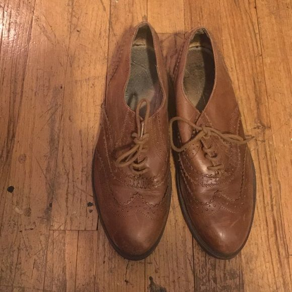 Top shop Office Brogues Top shop Office Brown Oxford/Brogues carefully worn. Aged scratches. Well designed and made. Original laces and support sole. Topshop Shoes Flats & Loafers