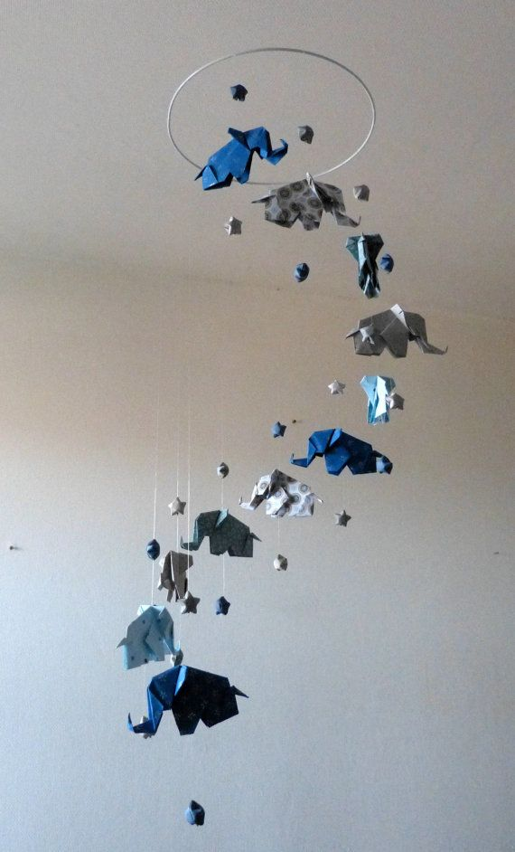 origami baby mobile elephants and stars blue taupe. Black Bedroom Furniture Sets. Home Design Ideas