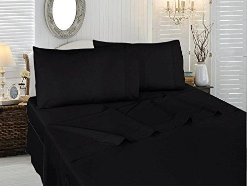 Cotton Queen FlatSheet Black  Premium Quality Combed Cotton Long Staple Fiber  Breathable Cozy Comfortable  Exceptionally Durable  Hotel Quality by Utopia Bedding Queen Black -- Click on the image for additional details.
