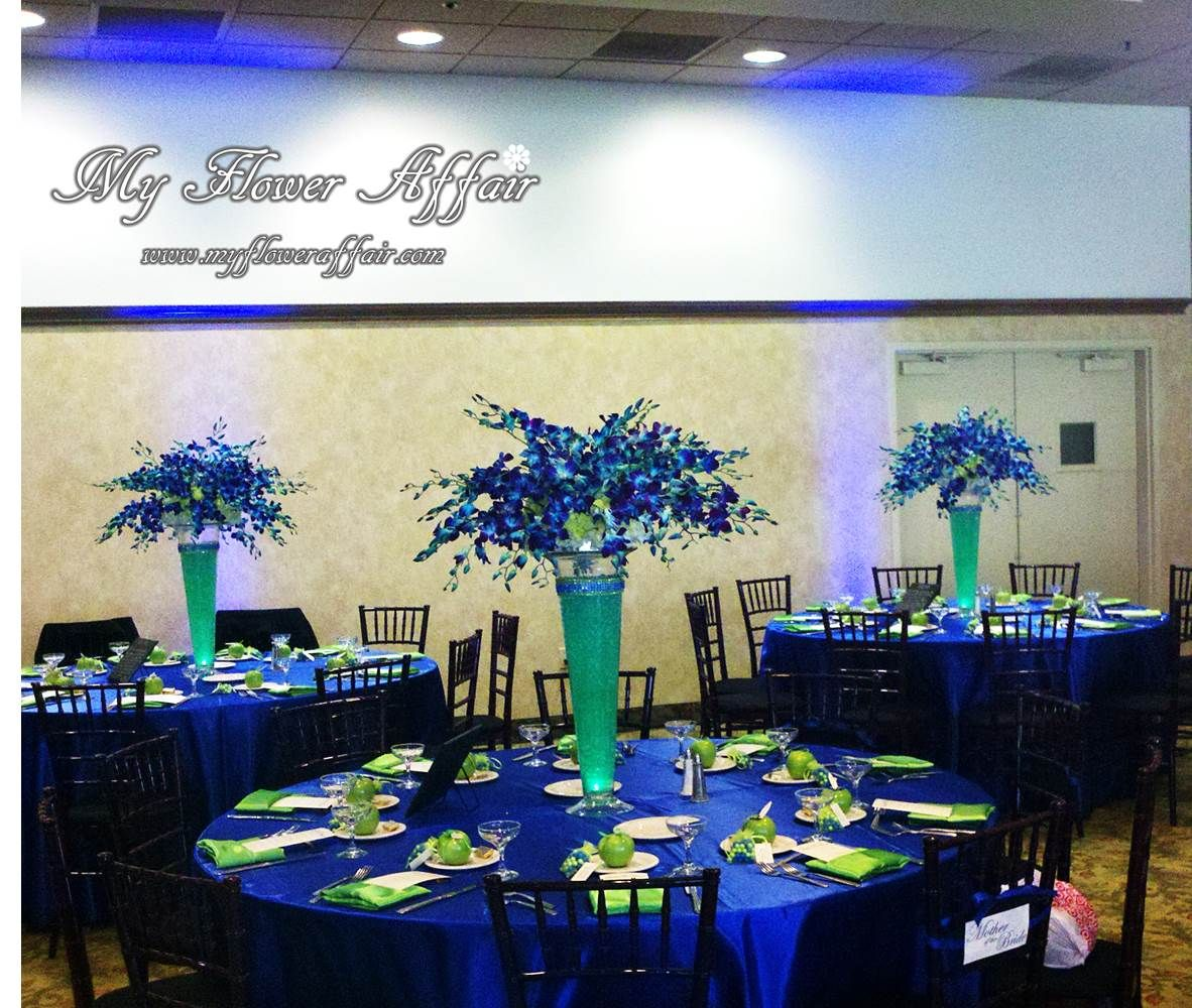 Lime Green Wedding Ideas: Cobalt Blue And Lime Green Wedding Flowers And Custom