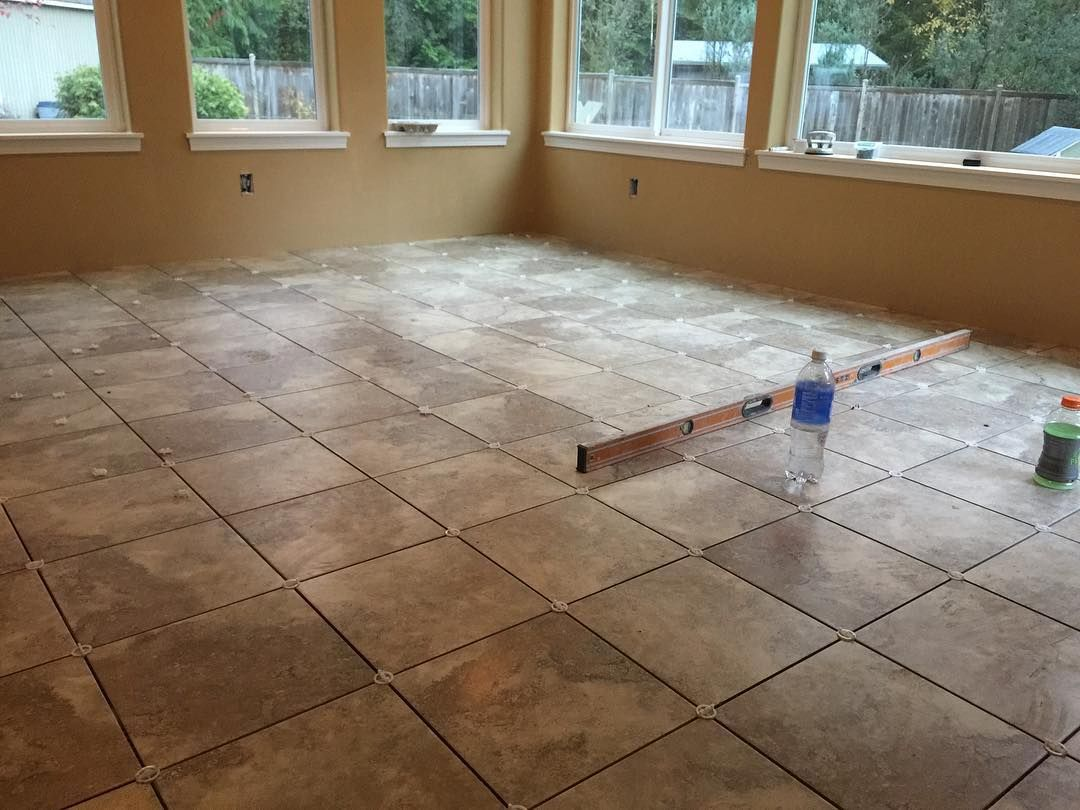 After 4 Years Finally We Did A Regular Floor With A 12x12 Tile Straight Layout Statementstile Pental Oregonti Seattle Homes Tile Installation House Design